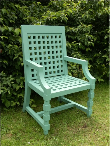 Garden Armchair - Baroque Style painted Green