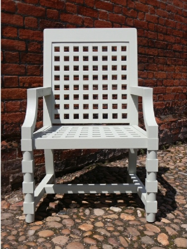 Garden Armchair - Baroque Style painted Trellis White