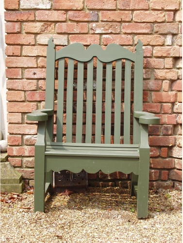 Garden Armchair - Edwardian style, painted Forest Green
