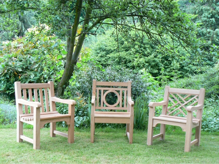 Garden Armchairs - Slatted, Leagrave and Chinoiserie Style