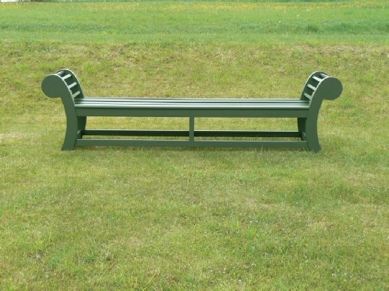 Large Edo Backless Bench painted Forest Green