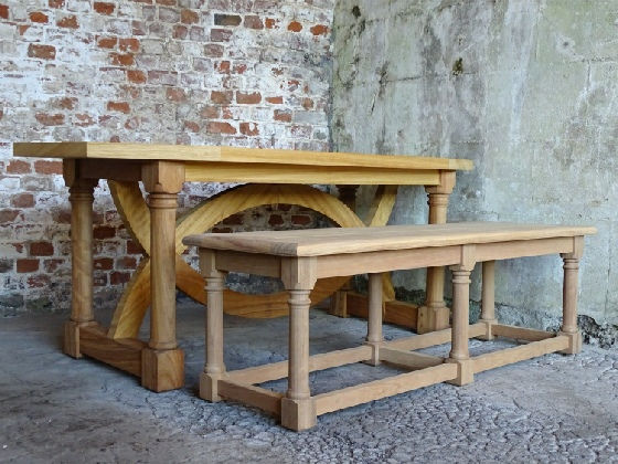 Hall Bench with 6 Turned Cannon Barrel Legs and Hatfield Table