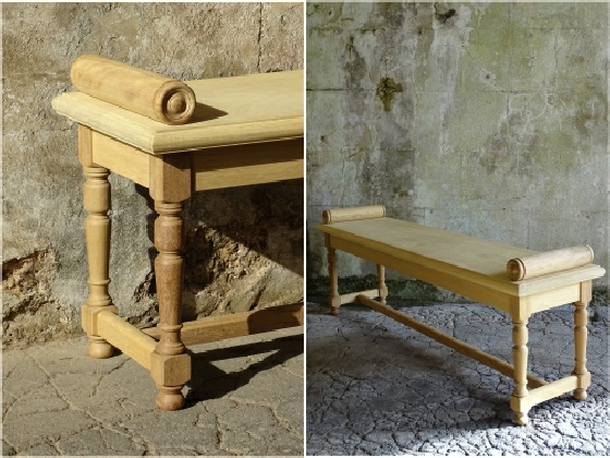 Oak / Iroko Interior Backless bench - Hall Bench with Roll Ends