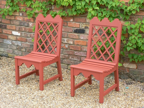 Garden Chair - Indian Lattice Style, painted Terracotta
