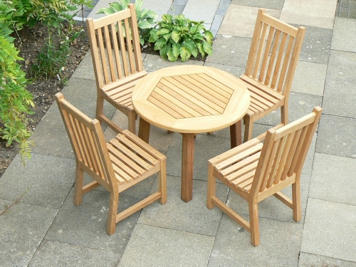 Garden Chair - Slatted Style, and Round Dining Table