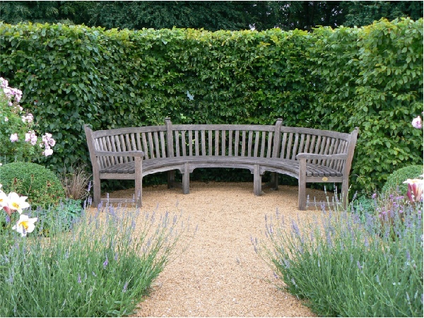 Oak / Iroko Curved Seat - Audley style