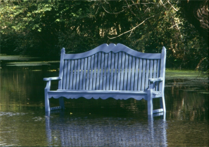 Four Seater Garden Seat - Edwardian Style painted Dolphin Blue