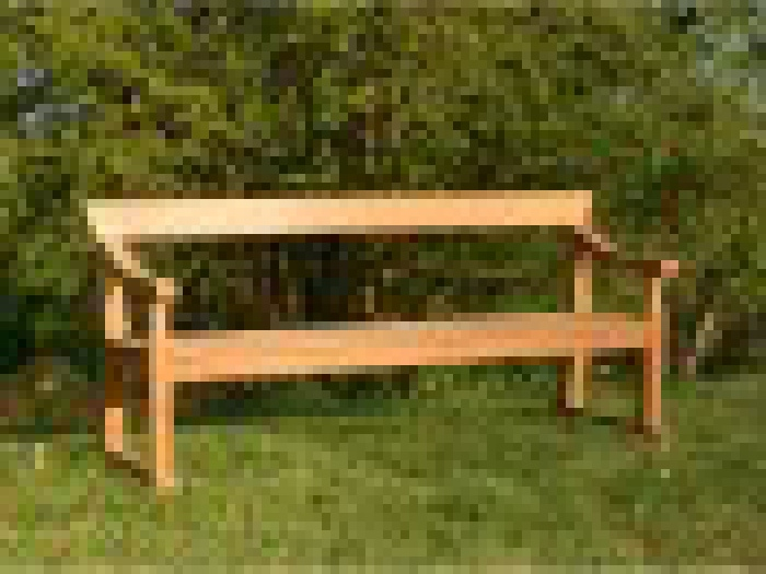 Four Seater Garden Seat - Traditional Park Style with Single Back Rail on Skids