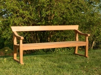 Four Seater Garden Seat - Park Style with single back rail, on Skids