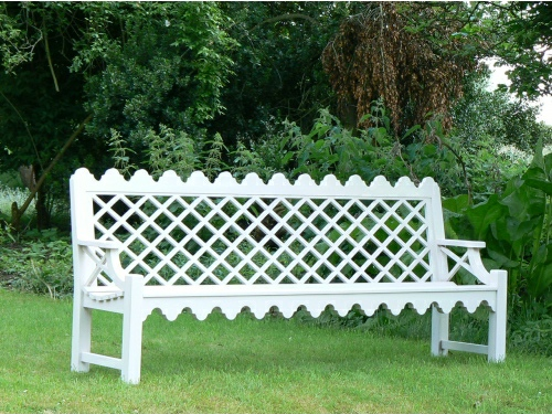 Four Seater Seat - Indian Lattice Style, painted White