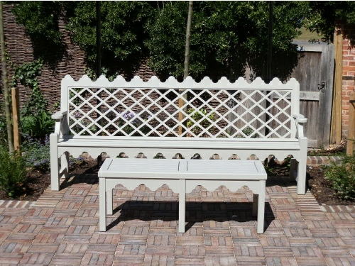 Four Seater Seat - Indian Lattice Style, painted Bent Grey