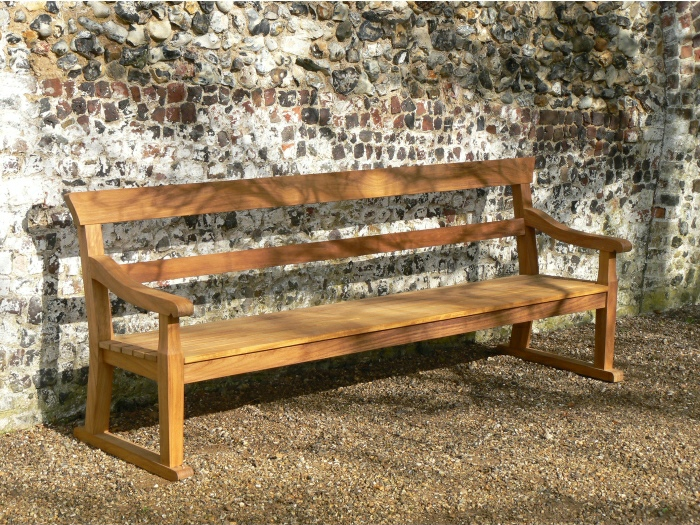 Four Seater Garden Seat - Traditional Park Style with double back rails, on Skids