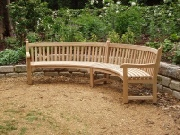 Oak / Iroko Garden Furniture - Curved Seat, Audley style
