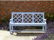 Oak / Iroko Garden Furniture - 3 Seater Seat, Charles Over style, painted Blue