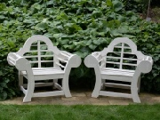 Oak / Iroko Garden Furniture - Throne, Edo style painted Treillis White