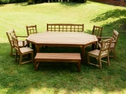 Oak / Iroko Garden Furniture - Elongated Octagonal Table, Dior chairs