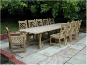 Oak / Iroko Table and Chais - Garden Table and Chairs, Refectory table and Chinoiserie chairs