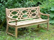 Wooden Garden Seat - Hatfield style, painted Blue