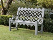 Oak / Iroko Garden Furniture - 2 Seater Garden Seat, Indian Lattice Style