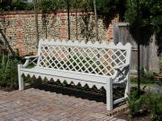 Oak / Iroko Garden Furniture - 4 Seater Garden Seat, Indian Lattice Style