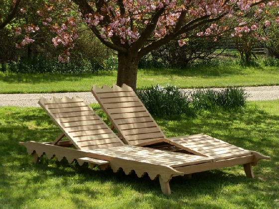 Oak & Iroko Garden Furniture - Sunlounger, Indian Lattice Style