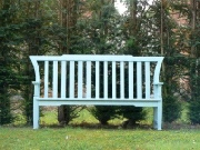 Oak / Iroko Garden Furniture - Three Seater Seat, Leighton style, painted Dix Blue