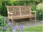 Oak / Iroko Garden Furniture - 3 Seater Seat, Moot style