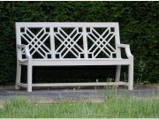 Oak / Iroko Garden Furniture - 3 Seater Seat, The Pavilion Style painted French Grey
