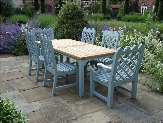 Oak / Iroko Garden Chairs and Tables - Indian Lattice design