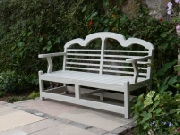 Oak / Iroko Garden Furniture - 3 Seater Garden Seat, Sissinghurst Style, painted Grey