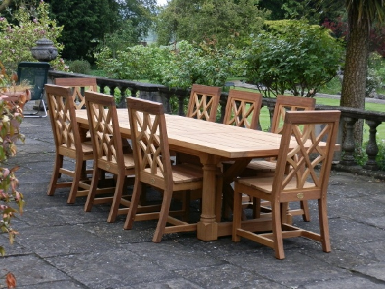 Oak & Iroko Garden Refectory Table and Chairs - Hatfield Table Style, Charles Over Chair