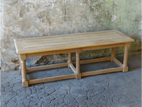 Oak & Iroko Refectory Backless Bench - Hall style backless garden bench