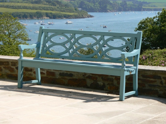 Oak & Iroko Garden Furniture - Hatfield 3 Seater Seat, painted Cobalt Blue