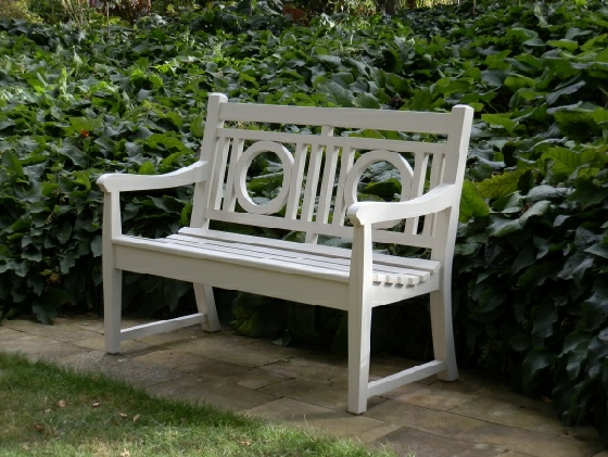 Garden Seat -  2 seater seat, Leagrave style, painted white