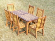Oak / Iroko Garden Table and Chairs- Hadham styled table, Slatted Chairs