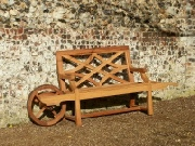 Unusual Oak / Iroko Garden Furniture - Wheelbarrow Seat, Charles Over style