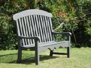 Oak / Iroko Garden Seat - Windsor Style, painetd Grey