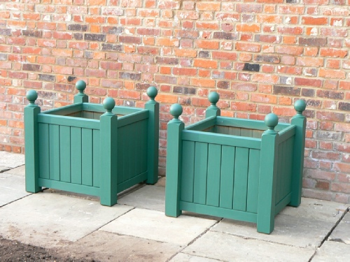 Wooden Planters - Baroque Style with Ball finials, painted Green