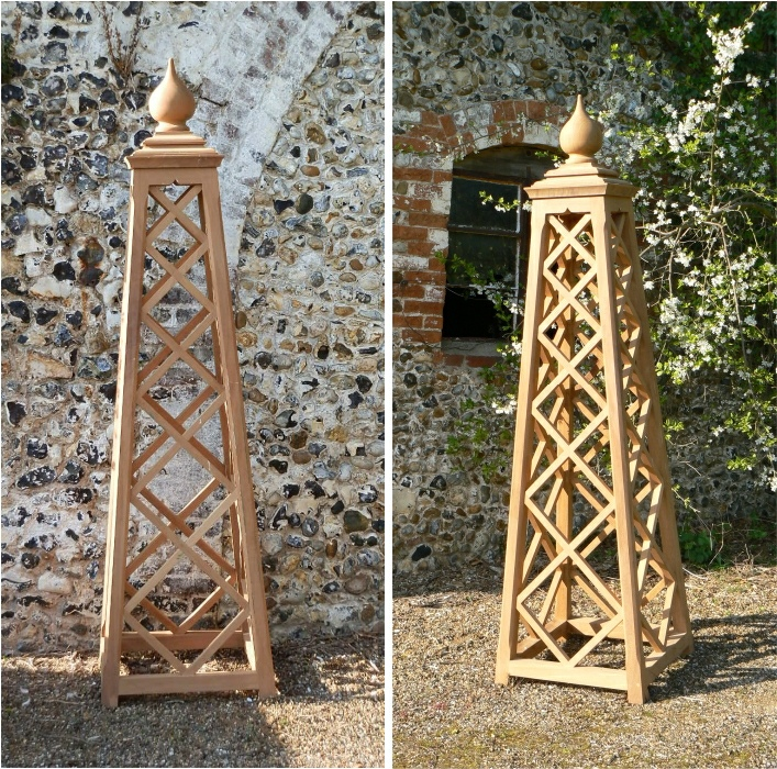 Oak Iroko Teak Garden Obelisk Vines And Plants Supports