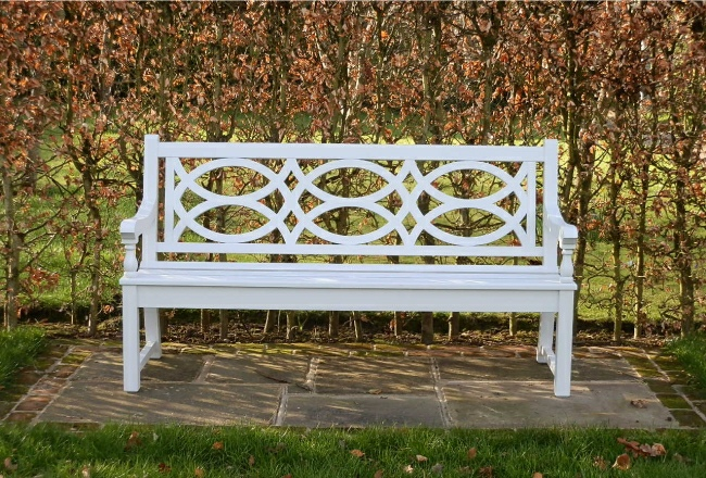 Wooden Garden Seat - Hatfield 3 seater tyle, painted white