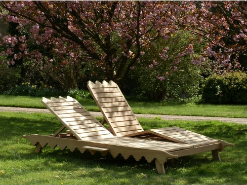 Double Sunloungers - Indian Lattice Style