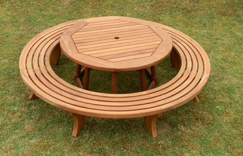Circular Table with turned legs splayed pedestal & cirlular Bench