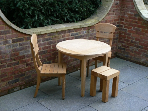 Wooden Garden Table - Drop Leaf ( Four Flap ) Table & Lotus Chairs
