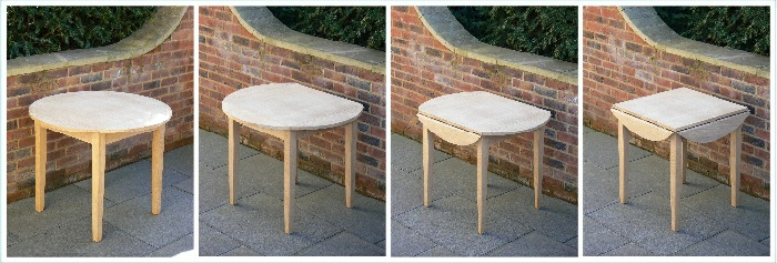 Wooden Garden Table - Round Table, Four Flap style