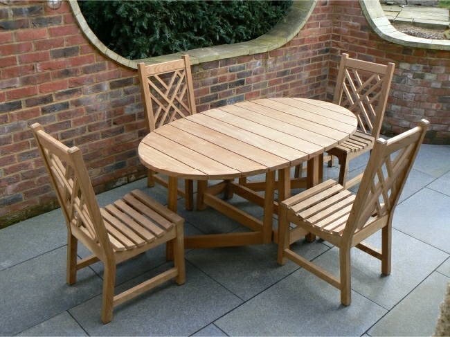 Garden Wooden Table - Oval Table, gateleg style & Chinoiserie Dining Chairs