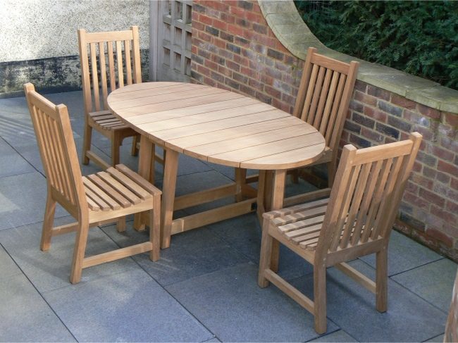 Garden Wooden Table - Oval Table, gateleg style & Slatted Dining Chairs