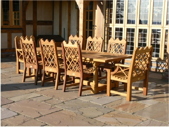 Bespoke Hadham Refectory Table And Indian Lattice Chairs