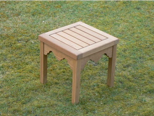 Coffee Table - Half Hadham Low Small Square with Indian Lattice Brackets style