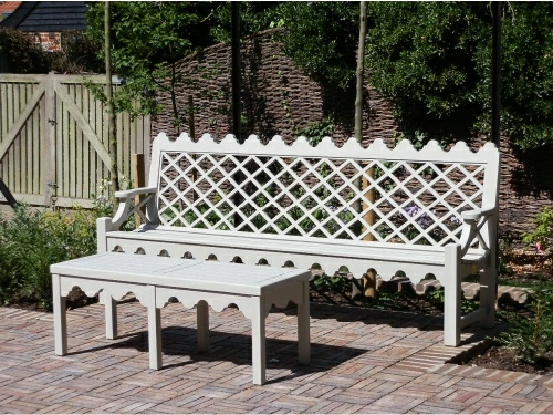 Coffee Table - Hadham Low with Indian Lattice brackets style, painted Bent Grey