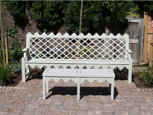 Indian Lattice 4 Seater, Hadham Low Table with Indian Lattice bracket painted Bent Grey